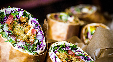 donor wraps with falafel and cabbage