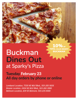 Dines Out Sparky's Flyer - Feb 23 - All Day