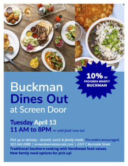Buckman Dines Out - April - Screen Door